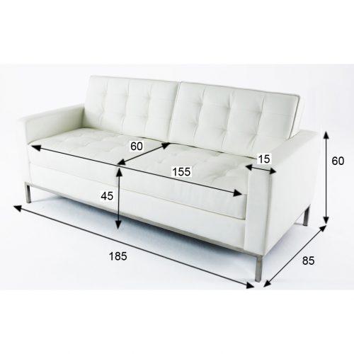 divano florence knoll bianco 2 posti xl rental design misure