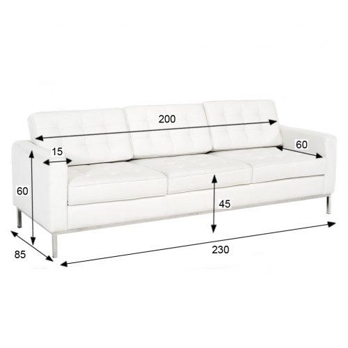 noleggio divano florence knoll bianco rental design misure