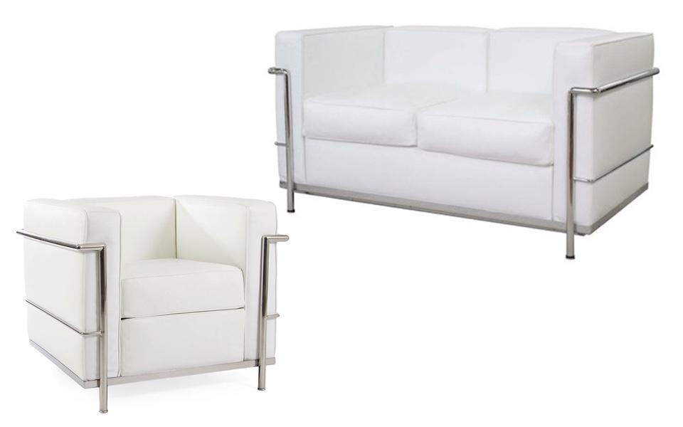 Set Le Corbusier LC2 - Bianco, Divano 2 o 3 posti + poltrona ...