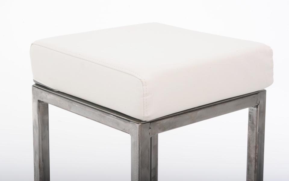 Sgabello hollywood con cuscino bianco acciaio rental design