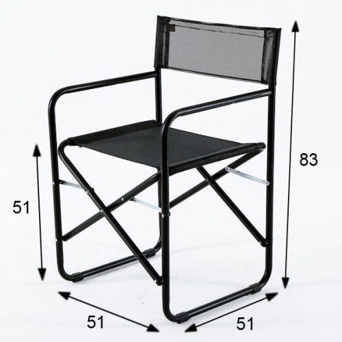 sedia regista fiam nera a noleggio rental design SED001-01_misure