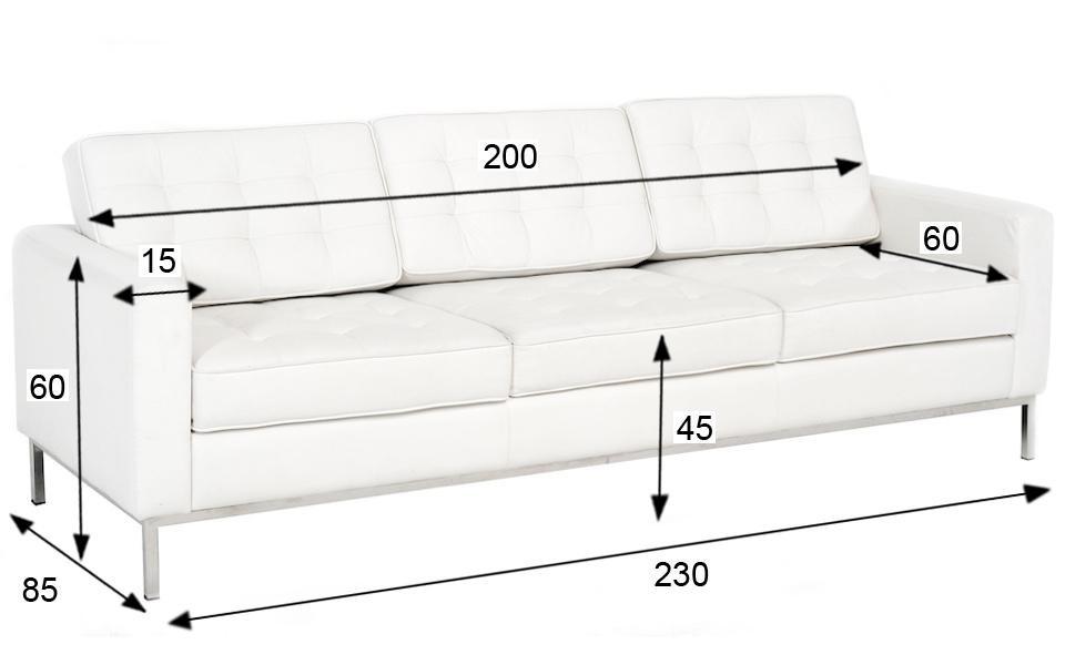 Divano Florence Knoll - 3 posti, Bianco - Rental Design