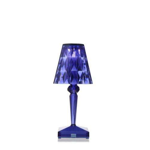 Lampada da tavolo blu trasparente Battery di Kartell a noleggio Rental Design