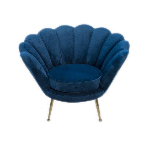 sedia poltrona blu vintage in velluto a noleggio rental design