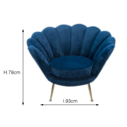 sedia poltrona blu vintage in velluto a noleggio rental design misure