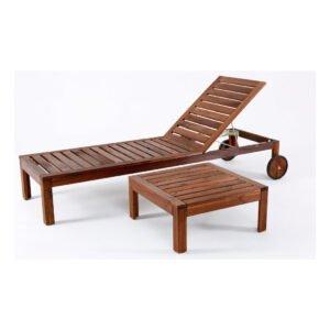 lettino mare piscina in legno a noleggio per eventi + tavolino