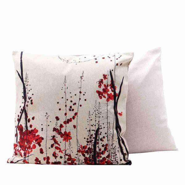 cuscino floreale astratto rosso bianco a noleggio rental design