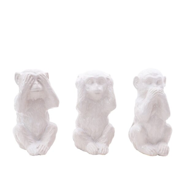 sculture in ceramica 3 scimmiette scimmie noleggio props rental design