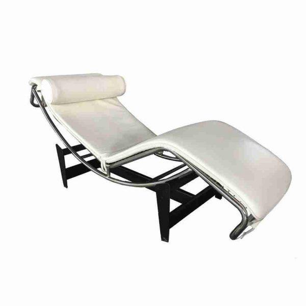 chaise longue le corbusier lc4 bianca a noleggio side