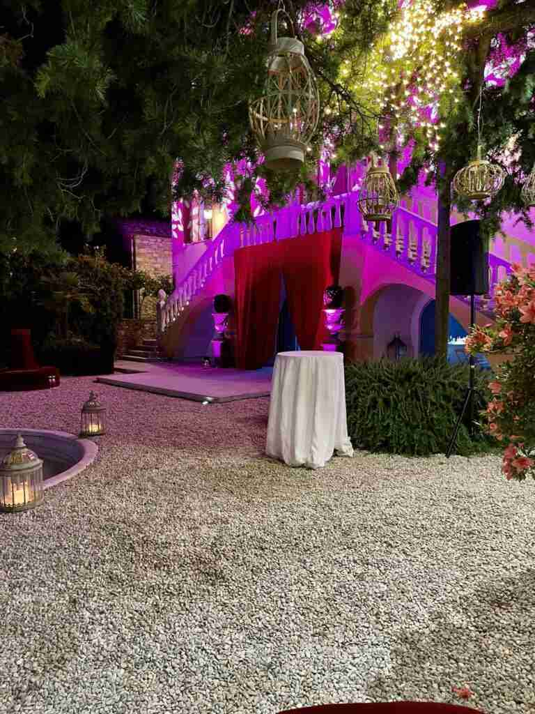 noleggio arredi lanterne luci piante e allestimento arredi evento lancio outdoor STM Hats @Villa a Sesta Polo Club - Rental Design 2