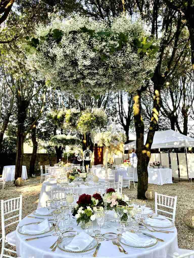 noleggio piante, tavoli, sedie, arredi, piatti, bicchieri evento lancio outdoor STM Hats @Villa a Sesta Polo Club - Rental Design giorno 2