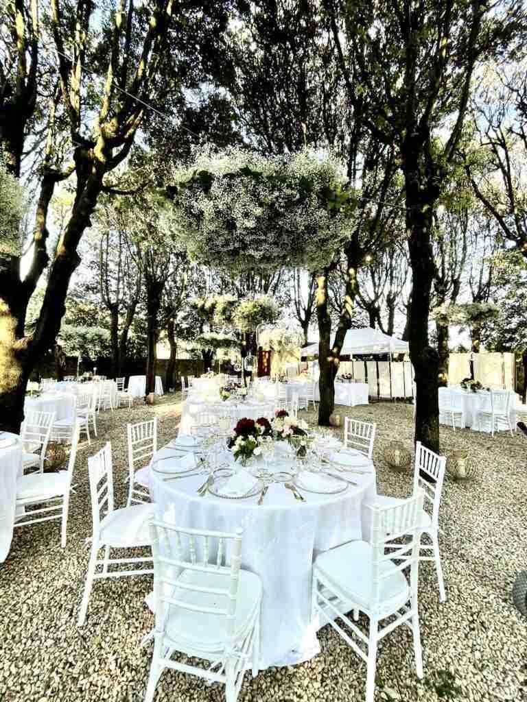 noleggio piante, tavoli, sedie, arredi, piatti, bicchieri evento lancio outdoor STM Hats @Villa a Sesta Polo Club - Rental Design giorno 3