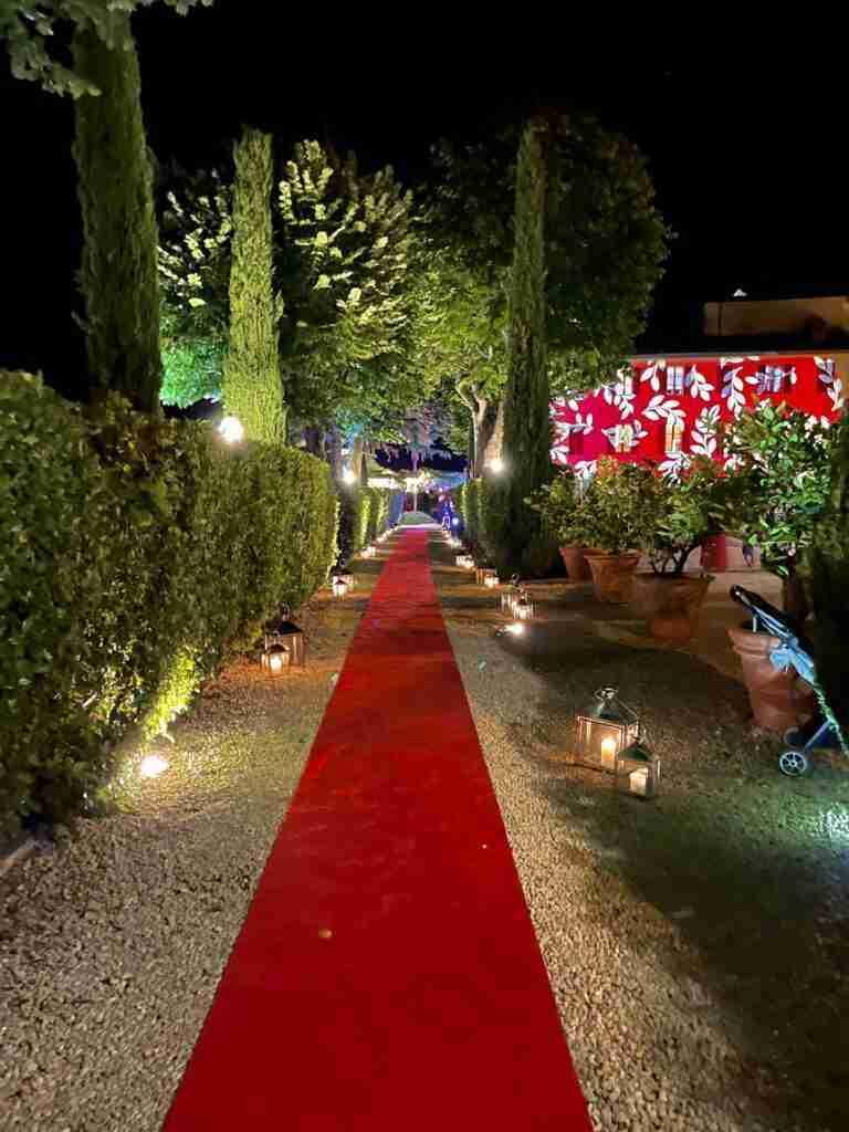 red carpet lanterne piante tappeto rosso a noleggio evento lancio collezione stm hats - rental design